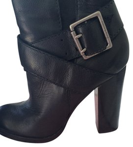 Juicy Couture Buckle Heel Ankle Black Boots