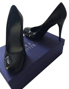 Stuart Weitzman Patent Patent Leather Heels Round Toe Dolly Black Patent Pumps