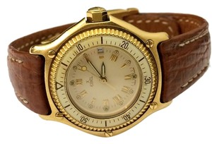 Ebel Rare Vintage EBEL 18k Gold Discovery Divers Leather Ladies Watch