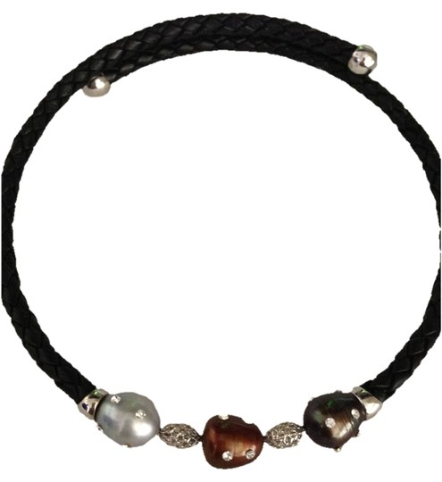 """Curated Collection Woven Black Leatherette Coil Freshwater Cultured Pearl and Cubic Zirconia Necklace, 17.75"""""""