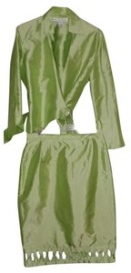 Marisa Baratelli MARISA BARATELLI Silk irridescent light green suit Size 10