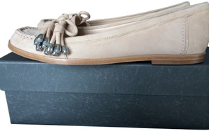 Via Spiga Suede Nude Loafers Tan Flats