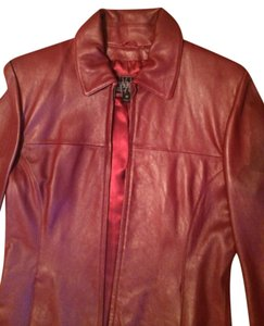 Wilsons Leather Blazer Coat Wine Jacket