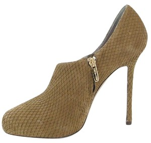 Sergio Rossi Perforated Suede Stiletto Olive Green Boots
