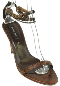 Sergio Rossi Beaded Wood Ankle Strap Lizard Snakeskin Brown Sandals