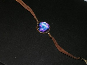 Other Galactic Glass Cabochon & Suede Bracelet Free Shipping