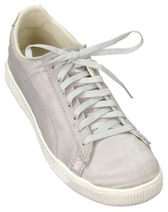 Sergio Rossi for Puma Flat Satin Sneakers Round Toe Gray Athletic