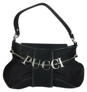 Emilio Pucci Leather Logo Crystals Evening Baguette