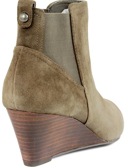 Sole Society Wedge Ankle Suede Olive Green Boots