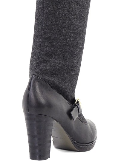 Studio Pollini Knee High Platform Belted Black Boots