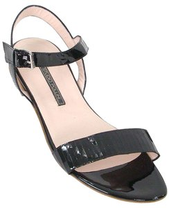 Studio Pollini Patent Leather Patent Flat Ankle Strap Black Sandals