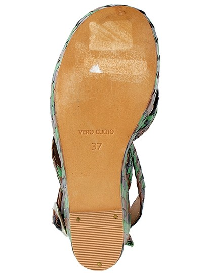 Studio Pollini Woven Ankle Strap Platform Belted Green, Brown, Blue Wedges