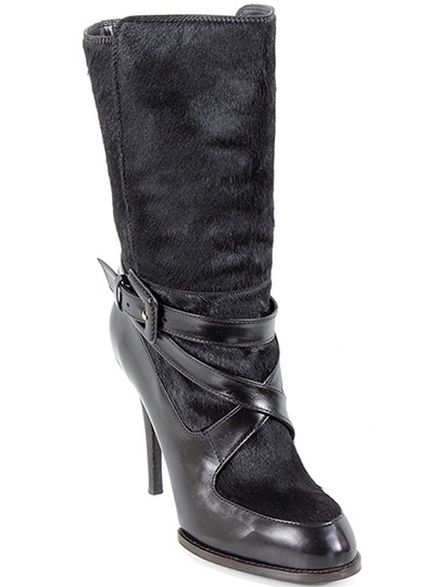 Tod's Fur Crisscross Strap Stiletto Belted Black Boots