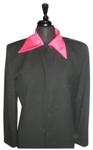 Dior Vintage 80 90's 100% Wool Removable Neon Pink Collar In Perfect Condition Size 12 black Blazer