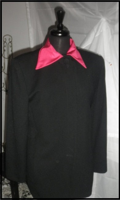 Dior Vintage 80 90's Removable Neon Pink Collar In Perfect Condition Size 12 black Blazer