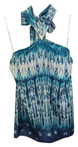Banana Republic Silk Print Tie Dye Turquoise Sea Halter Top