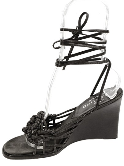 Valentino Wedge Wood Strappy Woven Floral Brown Pumps