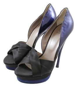 Versace Patent Leather Satin Metallic Two-tone Open Toe Peep Toe Heel Penny Lane Black, Blue Platforms