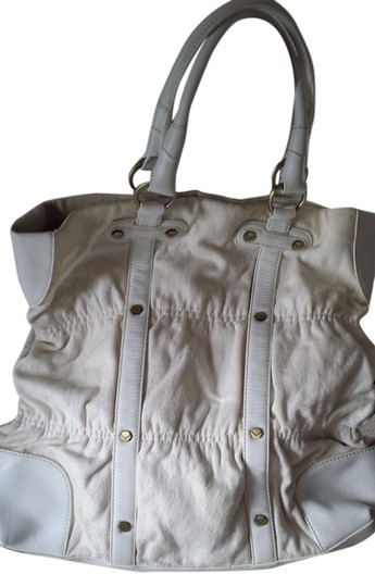 Via Spiga Leather Tote in White & Creamy