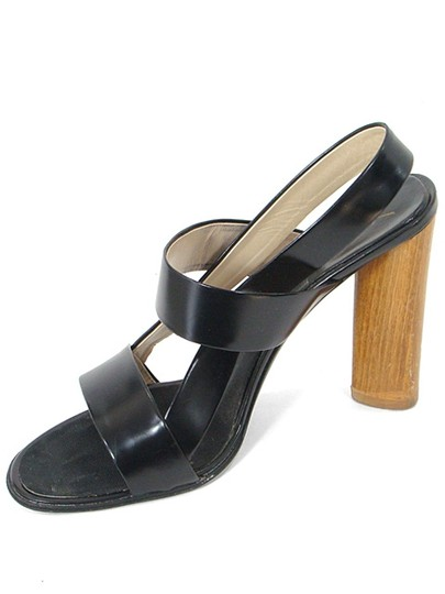 Saint Laurent Strappy Wood Chunky Slingback Black Sandals