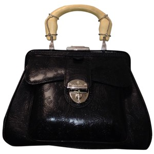 Brooks Brothers Paisley Pattern Textured Leather Handbag Satchel in Black