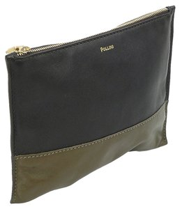 Pollini Pollini Handbag - Espresso Olive Leather Zipper Clutch