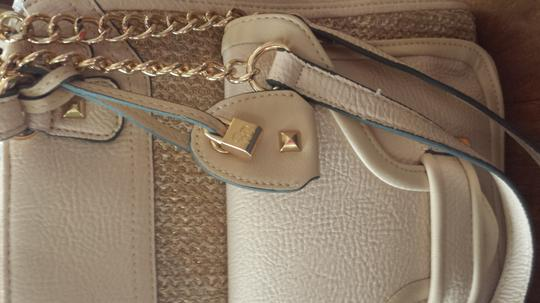Jessica Simpson Leah Gold Chain Satchel Tote in Taupe