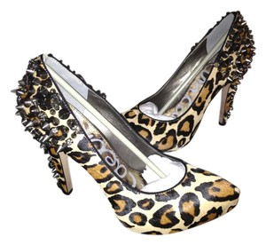 Sam Edelman Roza Spiked Real Calf Dyed Fur Roza 8.5 Calf Hair Leopard Pumps