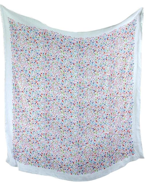 Item - Pink White Blue Limited Edition Ivory Circle Print Scarf/Wrap