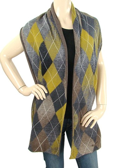 Jean-Paul Gaultier Gaultier2 Scarf - Grey, Mustard and Brown Argyle Wool Blend Scarf