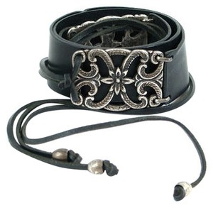 Alberta Ferretti Alberta Ferretti Belt - Black Leather Belt with Silver Detail
