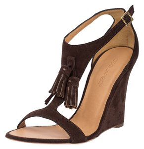 Dsquared2 Suede Genuine Leather Sandals Brown Wedges
