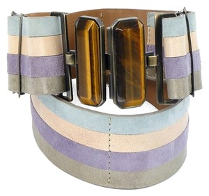 Fendi Fendi Belt - Tiger's Eye Pastel Leather Stripe Belt