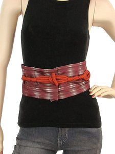 Pollini Pollini Belt -Burgundy and Green Obi Inspired Belt