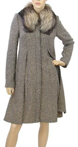 Escada Fur Tweed Wool Hollywood Pea Coat
