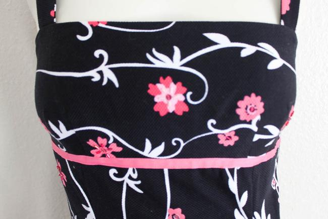 Muse short dress Black White & Pink Floral Sundress Sequin Beading Accents on Tradesy