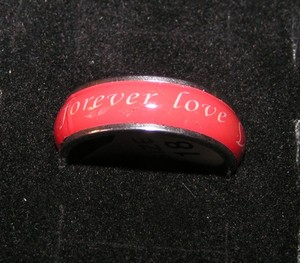 Red Enamel & Stainless Steel Forever Love Band Free Shipping