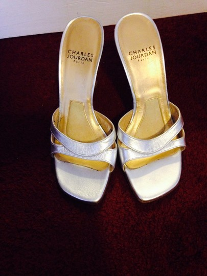 Charles Jourdan Slip Ons Evening Casual Dressy Open Toe Mules High Heels Sexy Silver Sandals