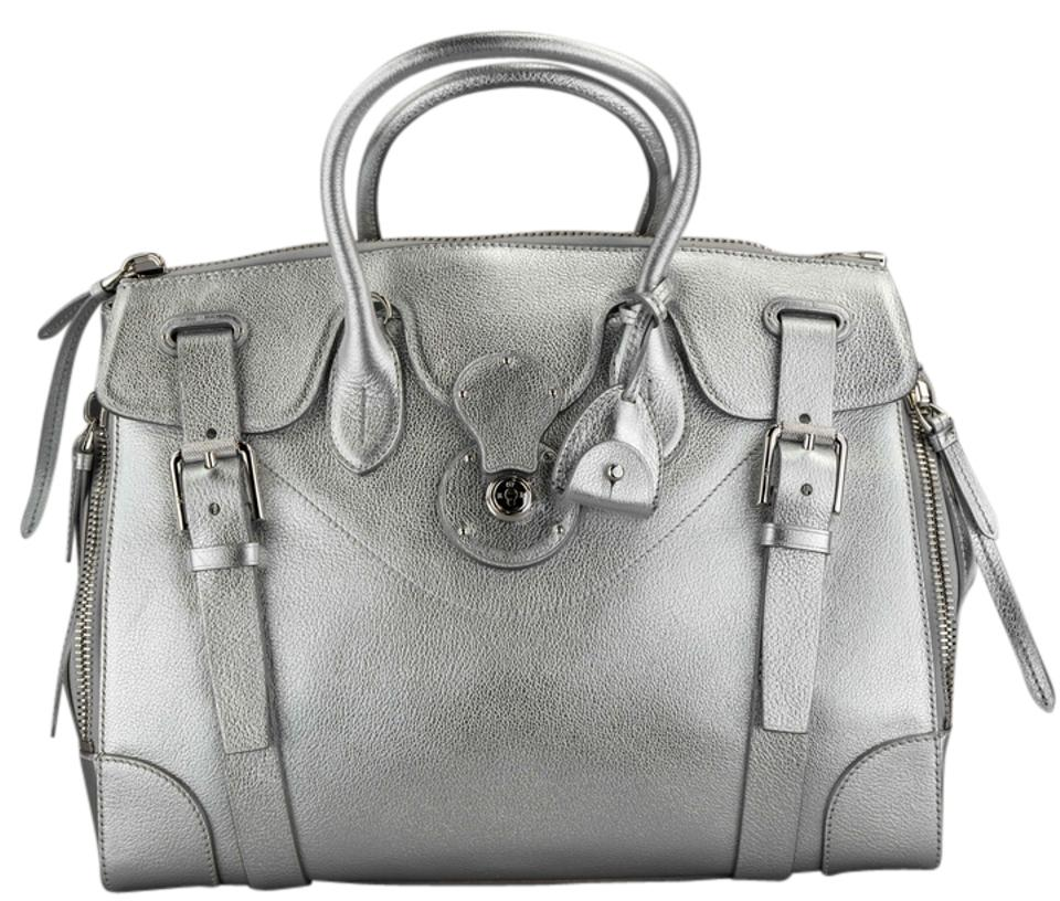 Ralph Lauren Metallic Pewter Soft Ricky Silver Leather Shoulder Bag ... 35667cf6c4f84