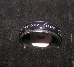 Black Enamel Forever Love Band Unisex Ring Free Shipping