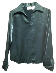 Christie & Jill Green Blouse Silky Button Down Shirt Dark green