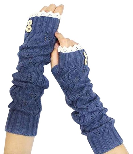 Preload https://item1.tradesy.com/images/blue-and-beige-knitted-lace-trim-buttoned-fingerless-thumb-hole-arm-warmer-gloves-9093625-0-2.jpg?width=440&height=440