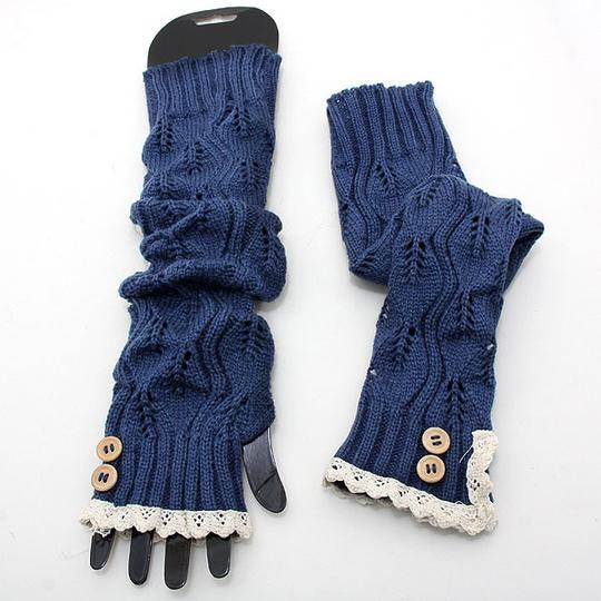 We Do Luxury Blue Knitted Lace Trim Buttoned Fingerless Thumb Hole Arm Warmer Gloves