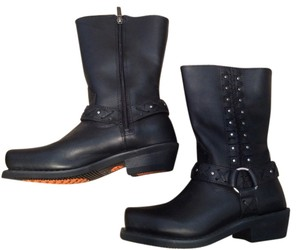 Harley Davidson Leather Studded Black Boots