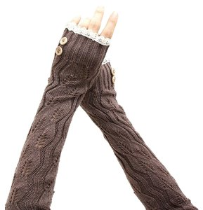 Knitted Lace Trim Fingerless Thumb Hole Arm Warmer Gloves