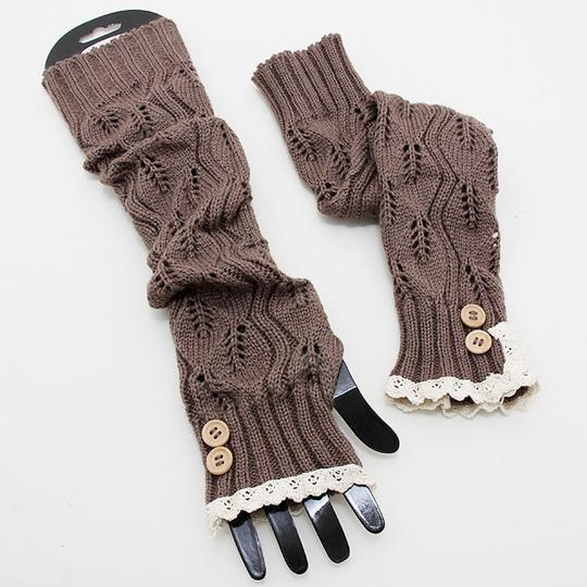 Other Knitted Lace Trim Fingerless Thumb Hole Arm Warmer Gloves