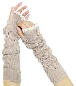 Beige Lace Trim Buttoned Fingerless Thumb Hole Arm Warmer Gloves