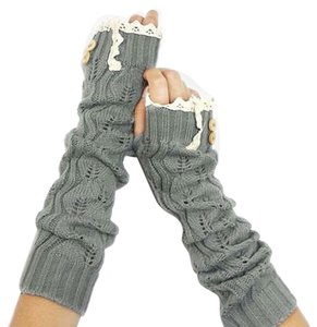 We Do Luxury Gray Knitted Lace Trim Buttoned Fingerless Arm Warmer Gloves