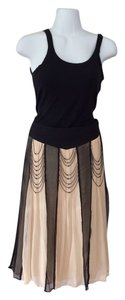 Anthropologie Beading Crepe Silk Skirt Black/creme