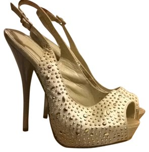 Beige And Sparkle Pumps
